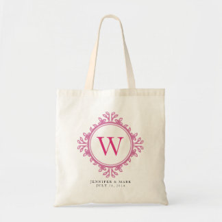 Leafy wreath pink monogram personalized gift tote budget tote bag