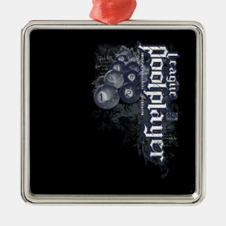 League Pool Player Silver-Colored Square Decoration