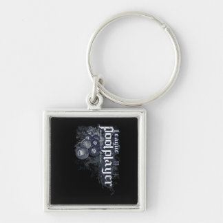 League Pool Player Silver-Colored Square Key Ring