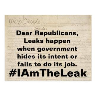 Leaks Happen When Government Fails Resistance Postcard