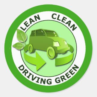 LEAN CLEAN DRIVING GREEN ROUND STICKER