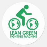 Lean Green Fighting Machine Round Stickers