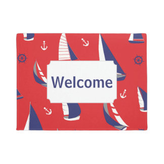 Lean Sailboat Pattern | Add Your Text Doormat