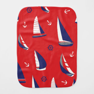 Lean Sailboat Pattern Burp Cloth
