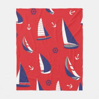 Lean Sailboat Pattern Fleece Blanket