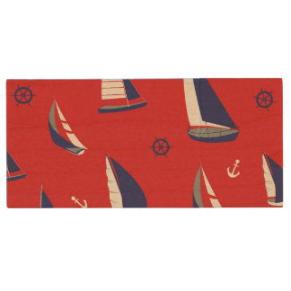 Lean Sailboat Pattern Wood USB Flash Drive
