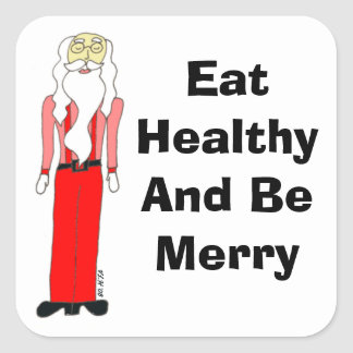 Lean Santa - Eat Healthy And Be Merry Square Stickers