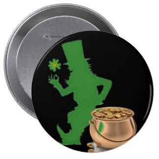 LEANING IRISH LEPRECHAUN button