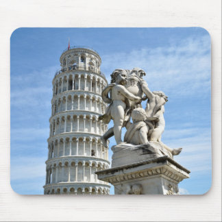 Leaning tower and La Fontana dei Putti Statue Mouse Mat