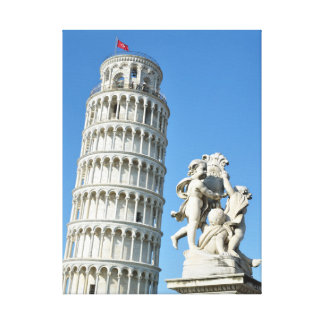 Leaning tower and La Fontana dei Putti Statue, Pis Canvas Print
