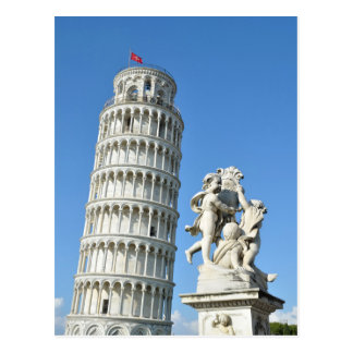 Leaning tower and La Fontana dei Putti Statue, Pis Postcard