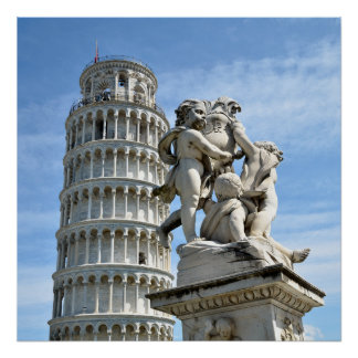 Leaning tower and La Fontana dei Putti Statue, Pis Poster
