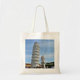 Leaning tower and La Fontana dei Putti Statue Tote Bag