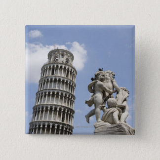 Leaning Tower of Pisa and Statue, Italy 15 Cm Square Badge