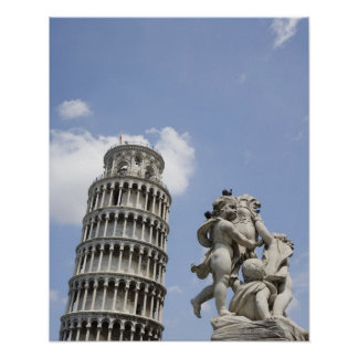 Leaning Tower of Pisa and Statue Italy Poster