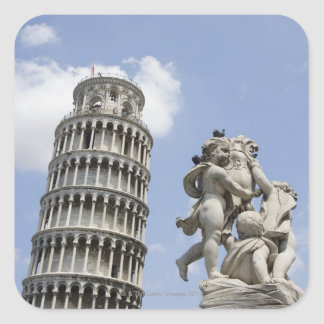 Leaning Tower of Pisa and Statue, Italy Square Sticker