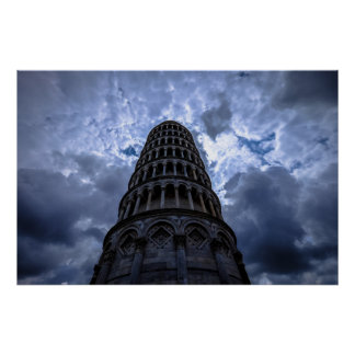 Leaning Tower of Pisa Italy European Travel Photo Poster
