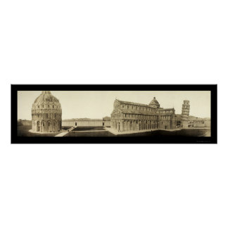 Leaning Tower of Pisa Photo 1909 Poster