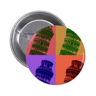 Leaning Tower of Pisa Pop Art 6 Cm Round Badge
