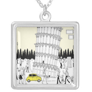 Leaning Tower of Pisa Silver Plated Necklace