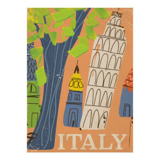 Leaning tower of Pisa vintage travel poster