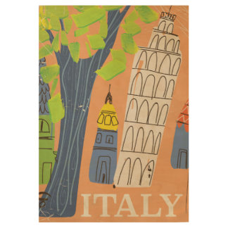 Leaning tower of Pisa vintage travel poster Wood Poster