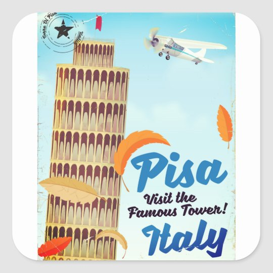 Leaning Tower of Pisa Vintage vacation print. Square