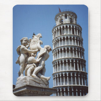 Leaning Tower of Pisa with Cherub Statue Mouse Pad