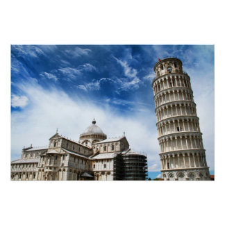 leaning tower pisa poster