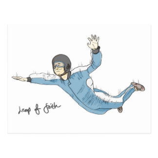 Leap of faith (encouragement) postcard: Skydiving Postcard
