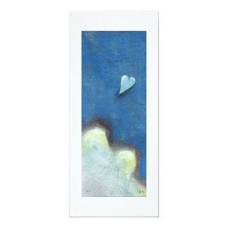 Leap of faith heart Late at Night fun original art 4x9.25 Paper Invitation Card