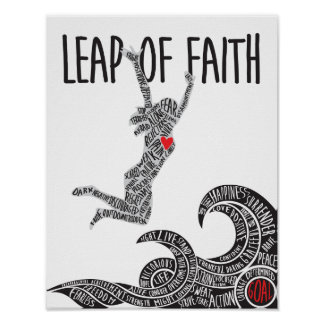 Leap of Faith Poster With Woman Leaping Jumping