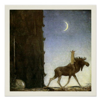 Leap the Elk and Princess Tuvstarr by John Bauer Poster