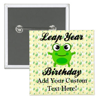 Leap Year Birthday, Cute Frog 15 Cm Square Badge