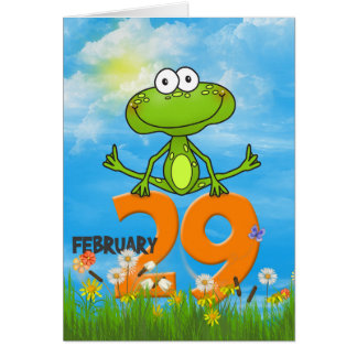 Leap Year Birthday frog Greeting Card