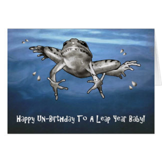 Leap Year Birthday: Happy Un Birthday Leaping Frog Greeting Card