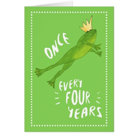 Leap Year Birthday Jumping Frog with Crown Card