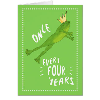 Leap Year Birthday Jumping Frog with Crown Greeting Card