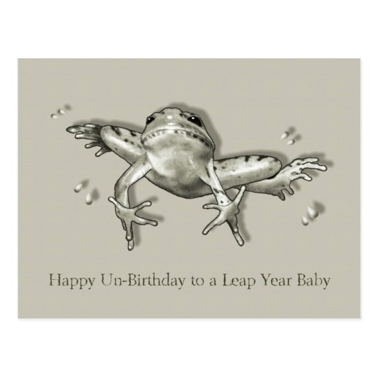 Leap Year Birthday, Leaping Frog, Pencil Art Postcard
