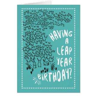 Leap Year Rabbits Birthday Card