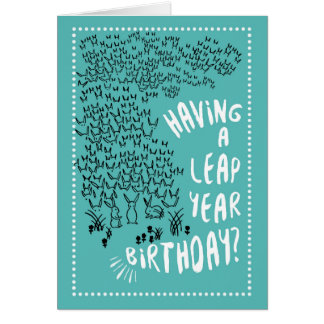 Leap Year Rabbits Birthday Greeting Card