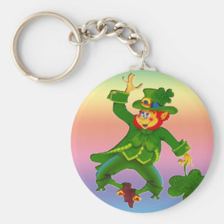 Leapin' Leprechaun Basic Round Button Key Ring