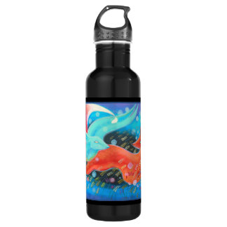 Leaping Animals, a Fox and a Hare. 710 Ml Water Bottle