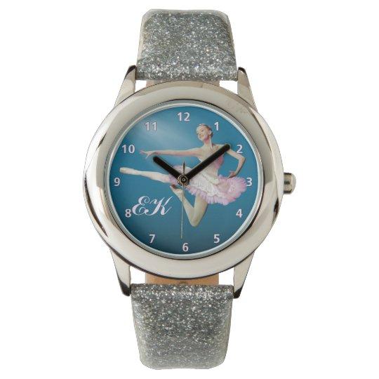 Leaping Ballerina on Blue, Monogram Watch