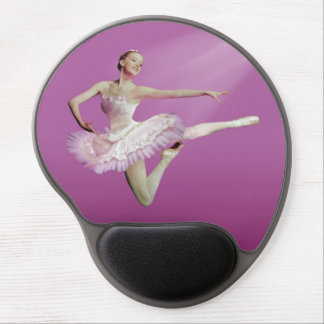 Leaping Ballerina on Pink Gel Mouse Pads