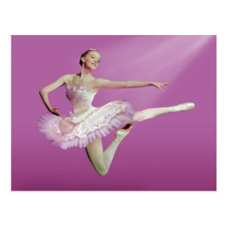 Leaping Ballerina on Pink Postcard