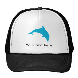 Leaping Blue Dolphin Silhouette Mesh Hat