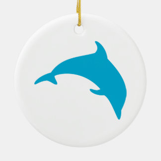 Leaping Blue Dolphin Silhouette Round Ceramic Decoration
