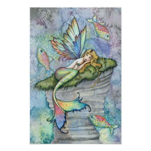 Leaping Carp Mermaid Fantasy Art Poster Print
