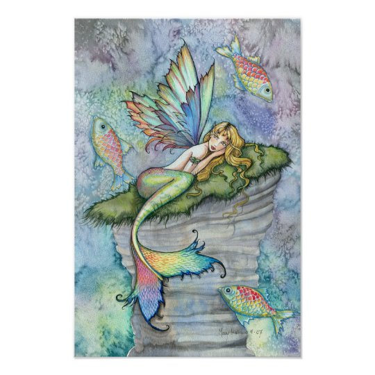 Leaping Carp Mermaid Fantasy Art Poster Print